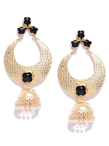 Anouk Gold-Toned & Black Dome Shaped Jhumkas Anouk Earrings at myntra