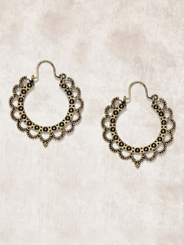 Anouk Antique Gold-Toned Floral Hoop Earrings Anouk Earrings at myntra