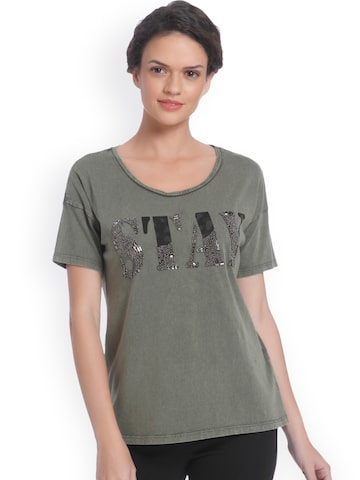 ONLY Women Olive Green Self Design Round Neck T-shirt ONLY Tshirts at myntra