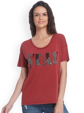 ONLY Women Rust Self-Design Round Neck T-shirt ONLY Tshirts at myntra