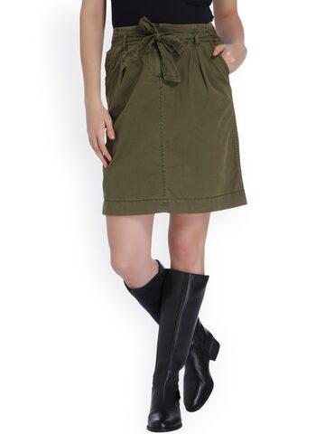 Vero Moda Olive Green A-Line Skirt Vero Moda Skirts at myntra