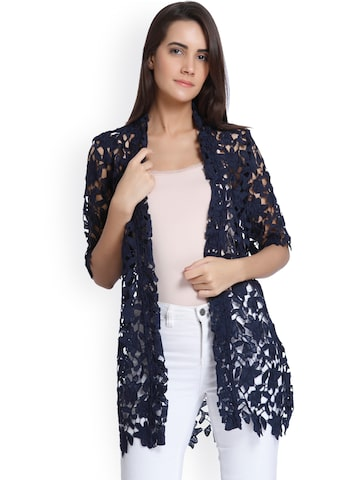 Vero Moda Navy Blue Self-Design Open Front Shrug Vero Moda Shrug at myntra