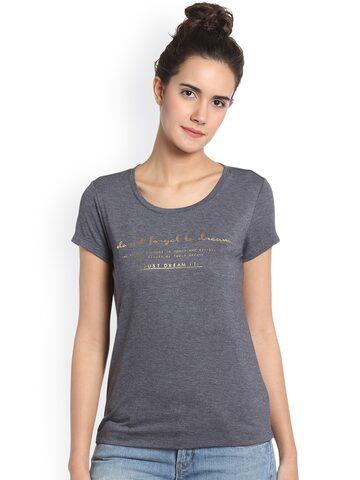 Vero Moda Women Grey Printed Round Neck T-shirt Vero Moda Tshirts at myntra