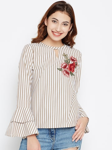Style Quotient Women White & Beige Striped Top Style Quotient Tops at myntra