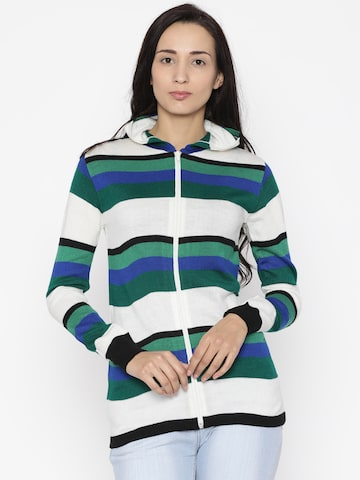 Jealous 21 Women Off-White & Green Striped Hooded Sweater Jealous 21 Sweaters at myntra