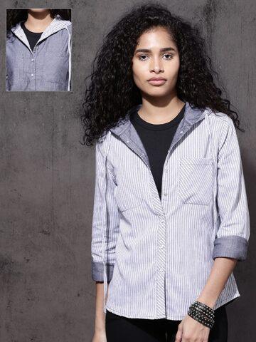 Roadster Women Grey & White Regular Fit Striped Reversible Casual Shirt Roadster Shirts at myntra