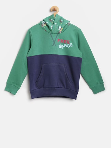 United Colors of Benetton Boys Green & Navy Colourblocked Hooded Sweatshirt United Colors of Benetton Sweatshirts at myntra