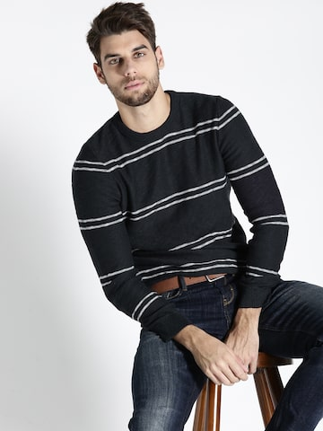 s.Oliver Men Navy Striped Sweater s.Oliver Sweaters at myntra