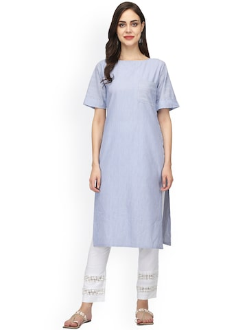 Abhishti Women Blue Striped Straight Kurta Abhishti Kurtas at myntra