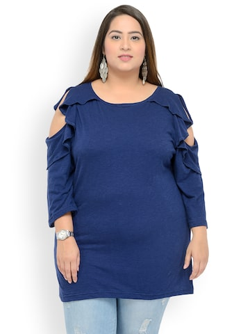 plusS Women Navy Blue Printed Top plusS Tops at myntra