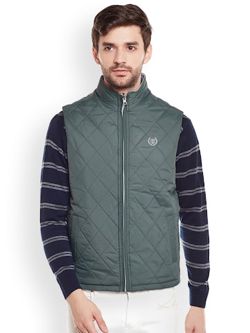 Duke Men Green Solid Quilted Jacket Duke Jackets at myntra