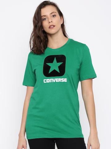 Converse Women Green Printed T-shirt Converse Tshirts at myntra