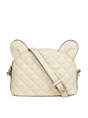 Accessorize Cream-Coloured Textured Sling Bag Accessorize Handbags at myntra