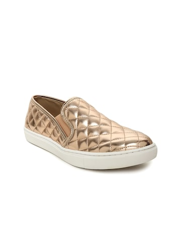 Steve Madden Women Gold-Toned ECENTRCQ Slip-On Sneakers Steve Madden Casual Shoes at myntra