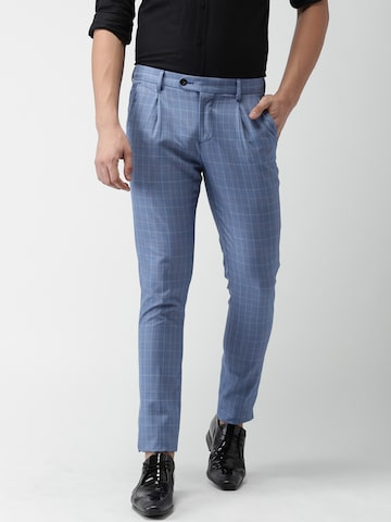 INVICTUS Men Blue Slim Fit Checked Regular Trousers INVICTUS Trousers at myntra