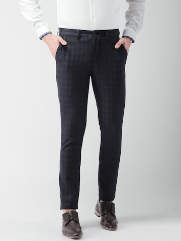 INVICTUS Men Navy Blue Slim Fit Checked Formal Trousers INVICTUS Trousers at myntra