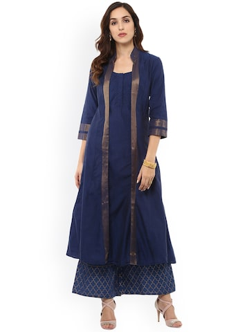 Bhama Couture Women Blue Solid A-Line Kurta Bhama Couture Kurtas at myntra