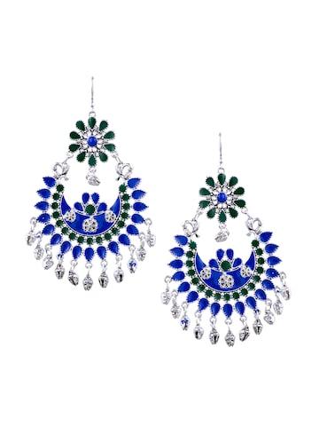 Sia Art Jewellery Silver-Plated Circular Drop Earrings Sia Art Jewellery Earrings at myntra