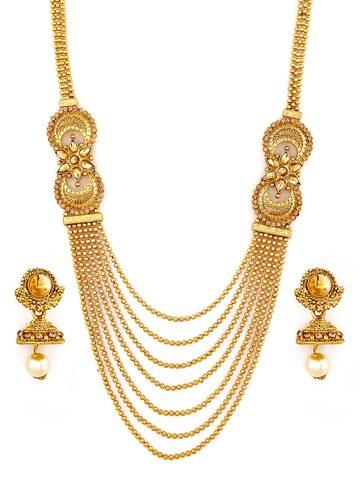 Zaveri Pearls Gold-Toned Multistranded  Jewellery Set Zaveri Pearls Jewellery Set at myntra