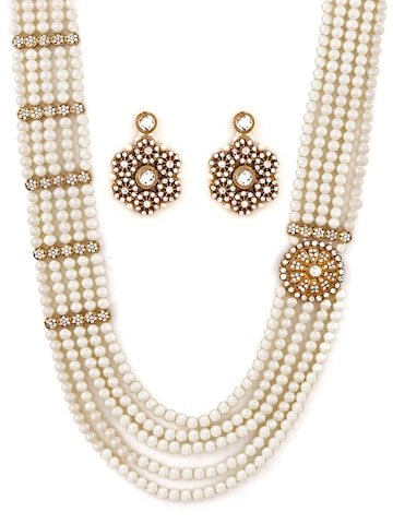 Zaveri Pearls Off-White & Gold-Toned Multistranded Beaded Jewellery Set Zaveri Pearls Jewellery Set at myntra
