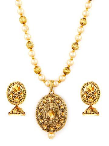 Zaveri Pearls Gold-Plated Jewellery Set Zaveri Pearls Jewellery Set at myntra