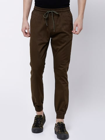 LOCOMOTIVE Men Olive Green Slim Fit Solid Joggers LOCOMOTIVE Trousers at myntra