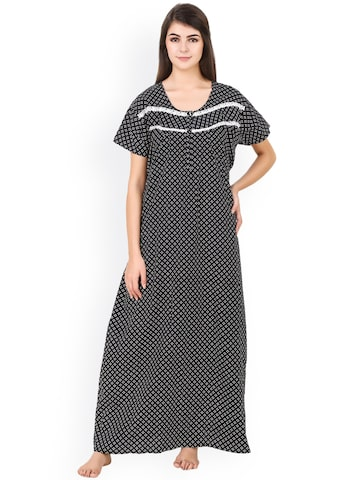Masha Women Black Printed Maxi Nightdress NT-221-1078 Masha Nightdress at myntra