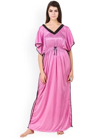 Masha Women Pink Satin Kaftan Maxi Nightdress NT-233-1114 Masha Nightdress at myntra