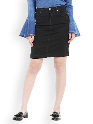 TARAMA Black Denim Pencil Skirt TARAMA Skirts at myntra
