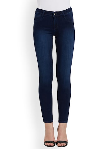 Kraus Jeans Women Blue Super Skinny Fit Mid-Rise Clean Look Jeans Kraus Jeans Jeans at myntra
