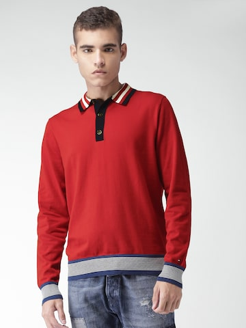 Tommy Hilfiger Men Red Solid Pullover Tommy Hilfiger Sweaters at myntra