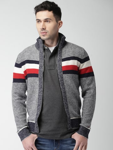 Tommy Hilfiger Men Grey & Navy Solid Cardigan Tommy Hilfiger Sweaters at myntra
