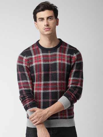 Tommy Hilfiger Men Navy Blue & Red Checked Pullover Tommy Hilfiger Sweaters at myntra