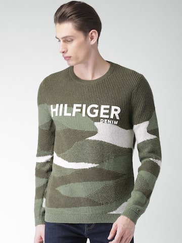 Tommy Hilfiger Men Olive Green Colourblocked Pullover Sweater Tommy Hilfiger Sweaters at myntra