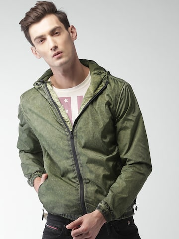 Tommy Hilfiger Men Green Solid Windcheater Sporty Jacket Tommy Hilfiger Jackets at myntra