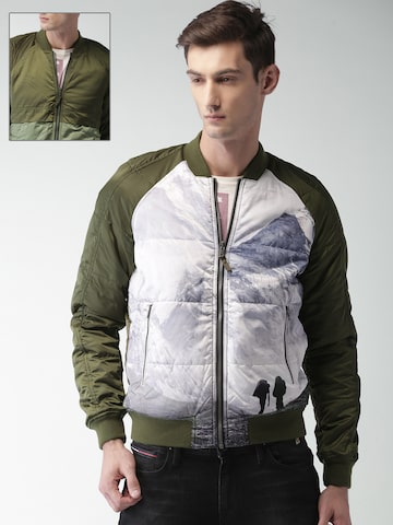 Tommy Hilfiger Men Olive Green & White Printed Reversible Bomber Tommy Hilfiger Jackets at myntra