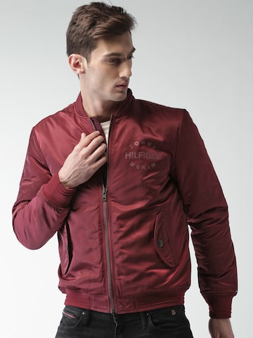 Tommy Hilfiger Men Burgundy Solid Bomber Tommy Hilfiger Jackets at myntra