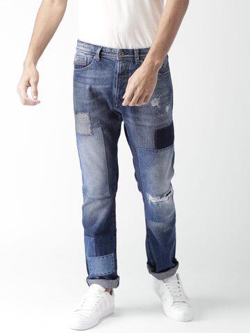 Tommy Hilfiger Men Blue Slater Slim Fit Low-Rise Slash Knee Jeans Tommy Hilfiger Jeans at myntra