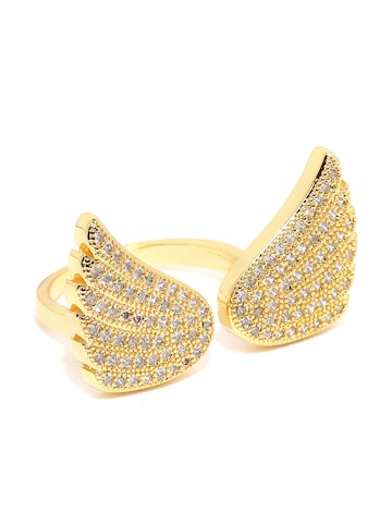 Rubans Gold-Toned Swarovski Crystal-Studded Ring Rubans Ring at myntra