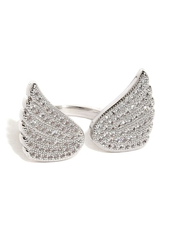Rubans Silver-Toned Swarovski Stone-Studded Open Ring Rubans Ring at myntra
