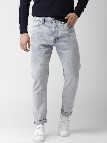 Tommy Hilfiger Men Blue Classic Straight Fit Low-Rise Clean Look Jeans Tommy Hilfiger Jeans at myntra