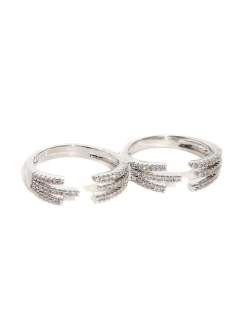 Rubans Silver-Toned Swarovski Stone-Studded Dual Open Ring Rubans Ring at myntra