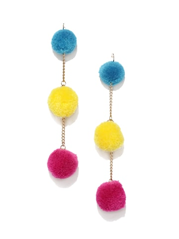 Rubans Blue & Yellow Circular Pom Pom Drop Earrings Rubans Earrings at myntra