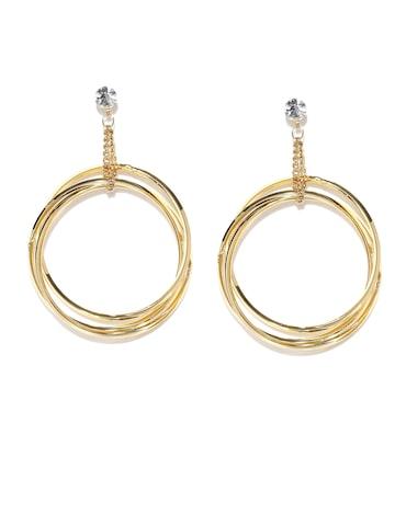 Rubans Gold-Toned Circular Drop Earrings Rubans Earrings at myntra