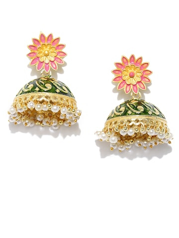 Rubans Green & Pink Dome Shaped Drop Earrings Rubans Earrings at myntra