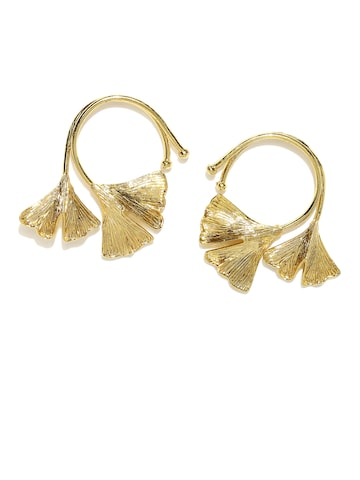 Rubans Gold-Toned Contemporary Drop Earrings Rubans Earrings at myntra