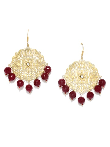 Rubans Gold-Plated & Red Floral Drop Earrings Rubans Earrings at myntra