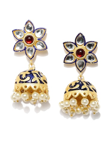 Rubans Gold-Toned & Blue Dome-Shaped Jhumkas Rubans Earrings at myntra