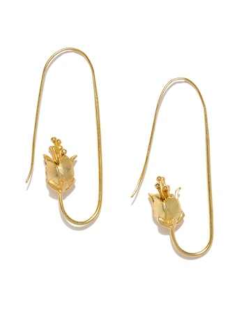 Rubans Gold-Toned Contemporary Half Hoop Earrings Rubans Earrings at myntra