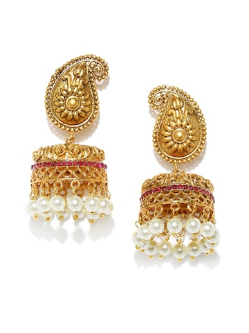 Rubans Gold-Plated & White Dome Shaped Jhumkas Rubans Earrings at myntra